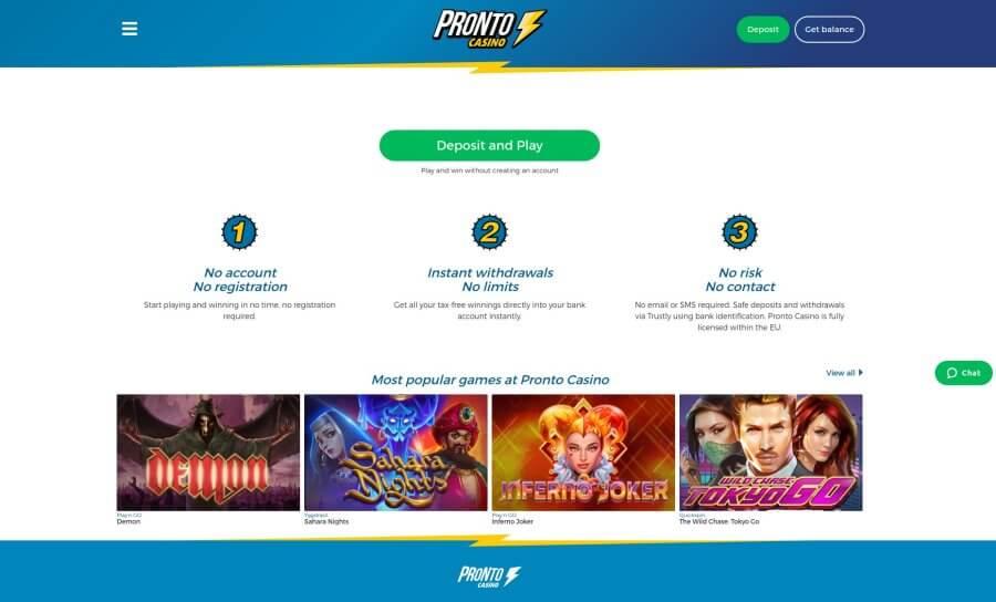 blackjackonline.nl casino review Pronto Casino homepage screenshot