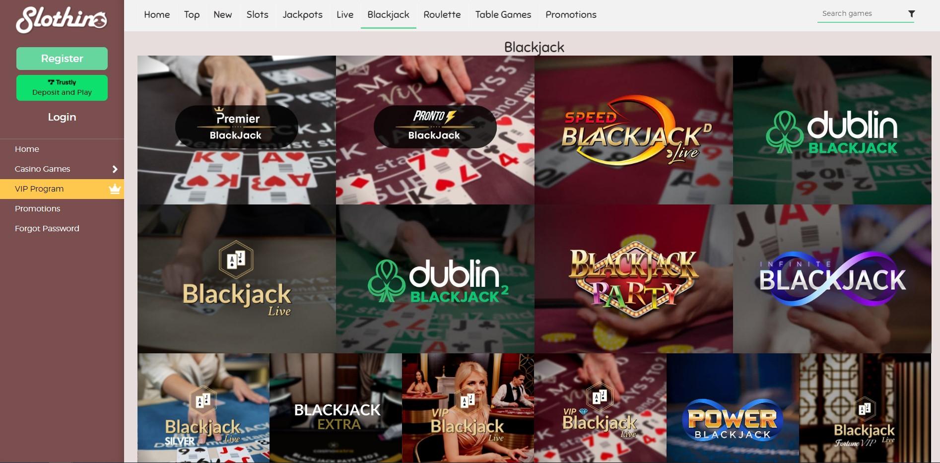 Slothino casino blackjack