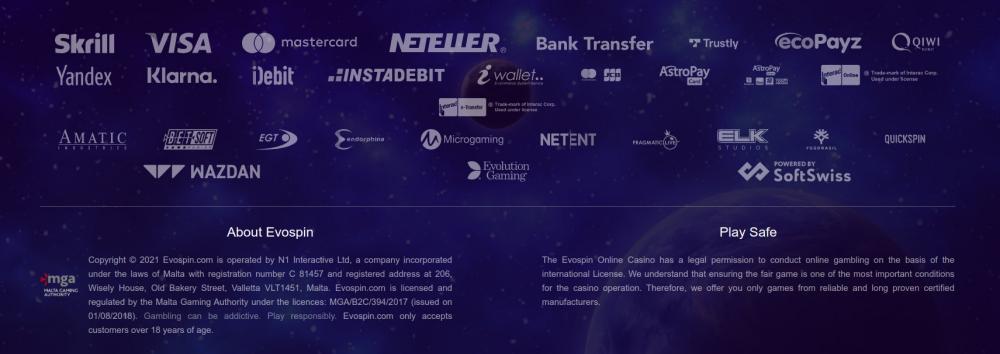 Blackjackonline.nl review Evospin - logos van providers, betaalsystemen en kansspel vergunning